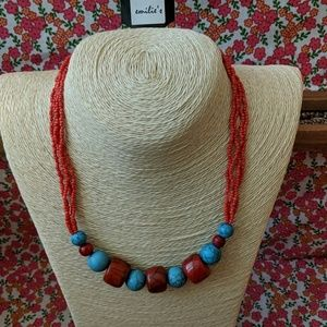 Red and turquoise handmade beaded necklace